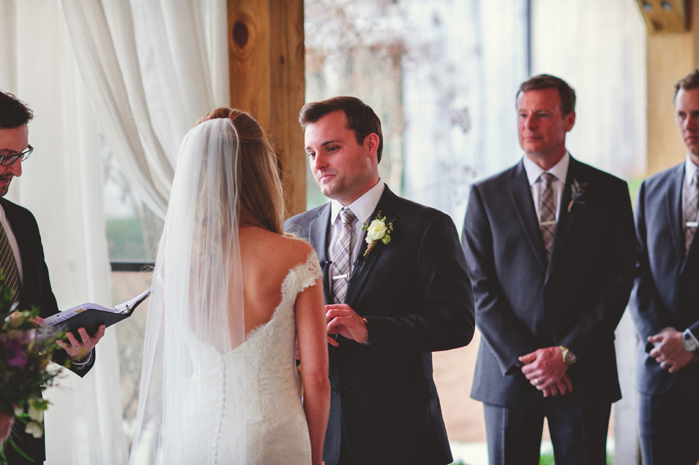 mint springs farm wedding: exchanging vows