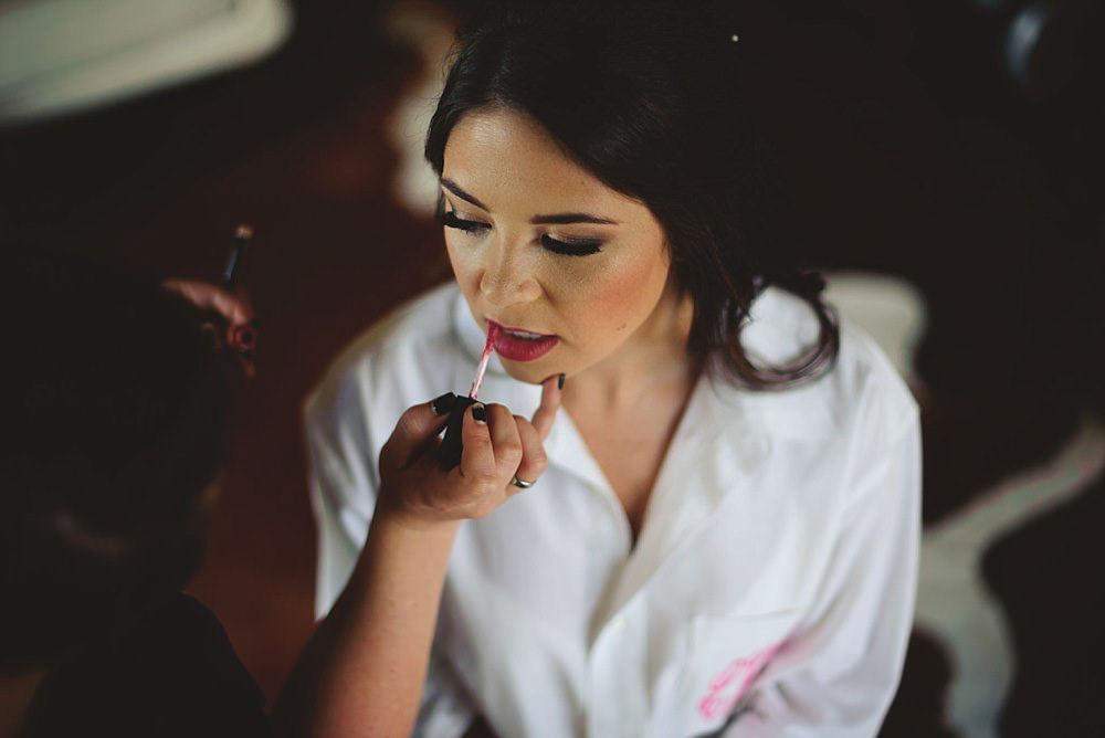 bride getting lipstick on