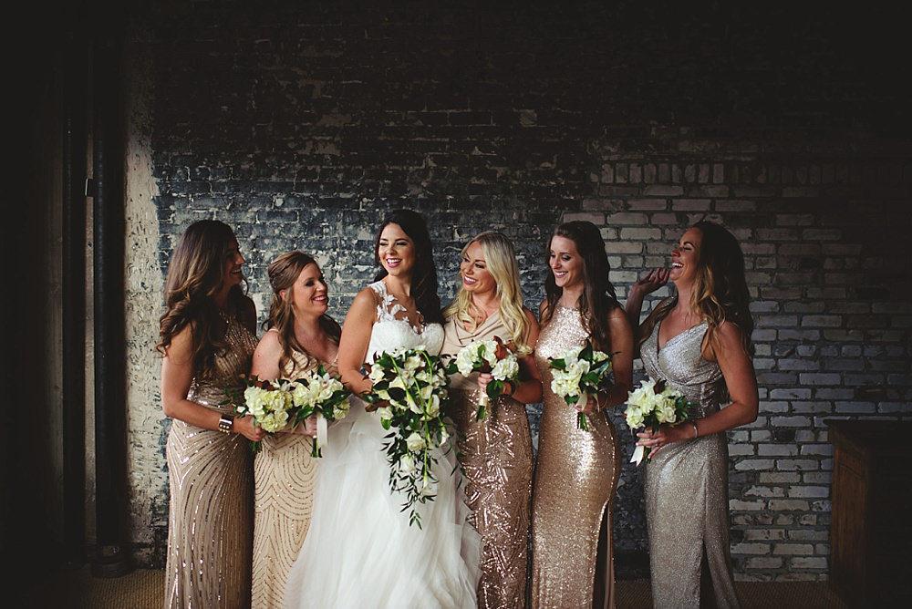 oxford exchange wedding : bride and bridesmaids