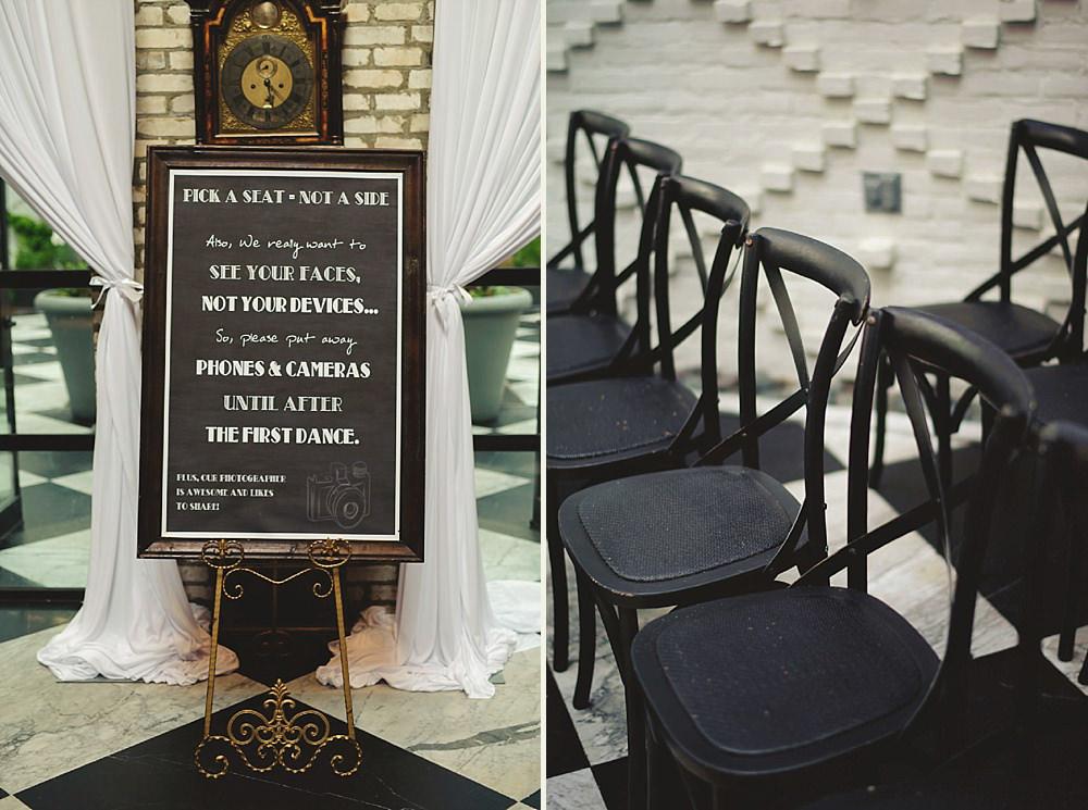 oxford exchange wedding : ceremony chairs