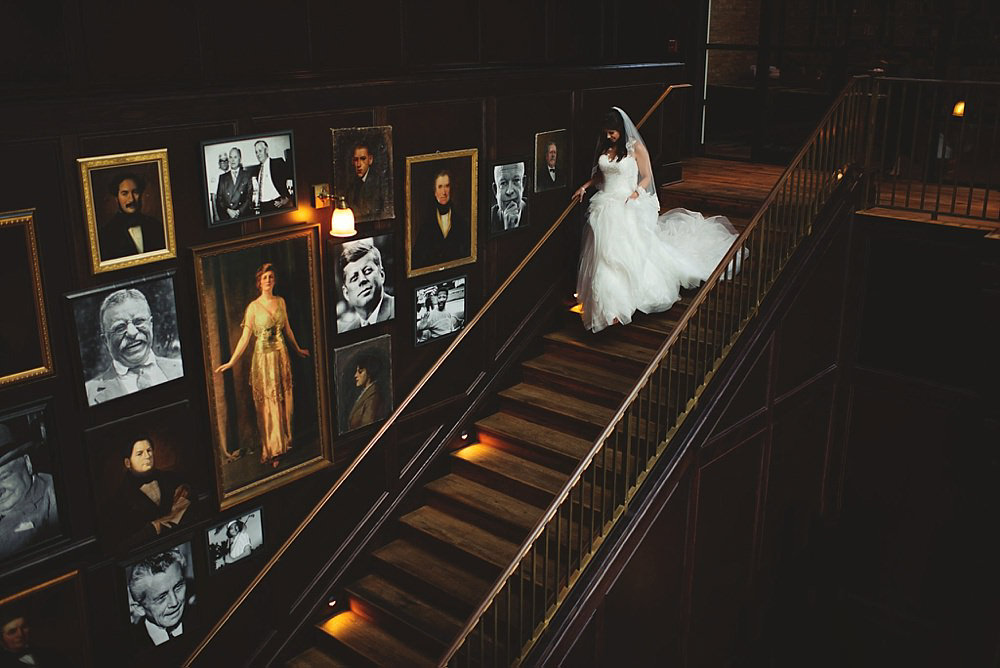 oxford exchange wedding : bride coming down stairs