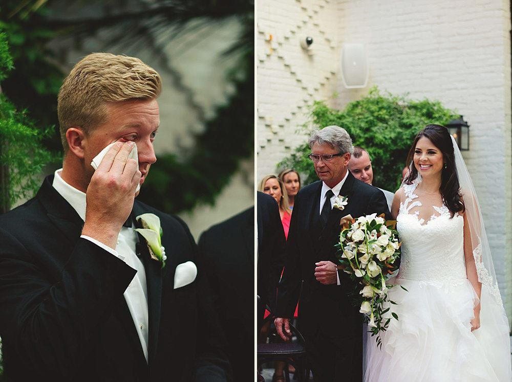 oxford exchange wedding : groom crying bride walking down aisle