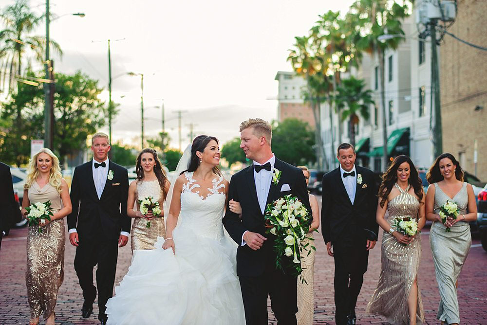 oxford exchange wedding : bridal party walking