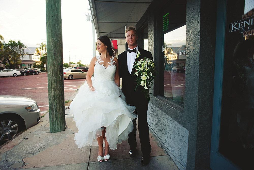 oxford exchange wedding : bride and groom walking