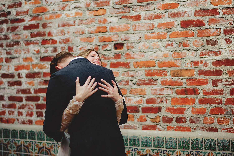 casa feliz wedding photos: bride and groom crying