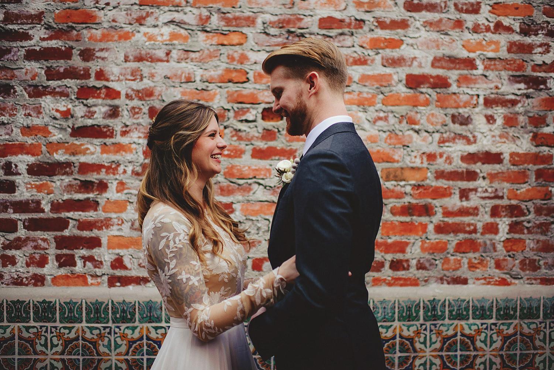 casa feliz wedding photos: bride and groom smiling