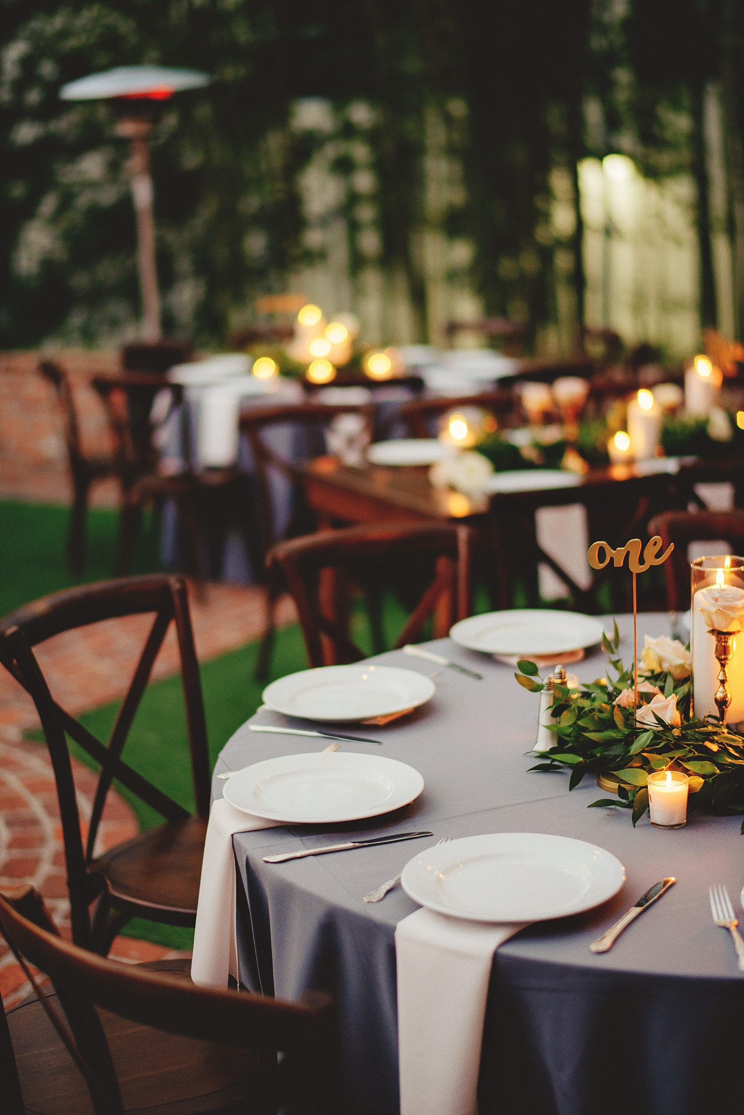 casa feliz wedding photos: mixed round and rectangular tables outside