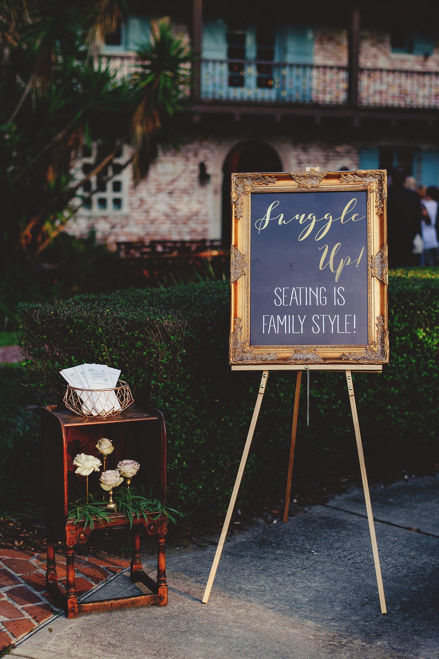 casa feliz wedding photos: ceremony signage