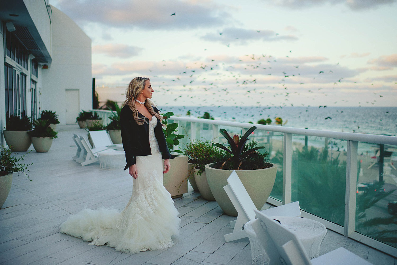 bride in all saints leather jacket