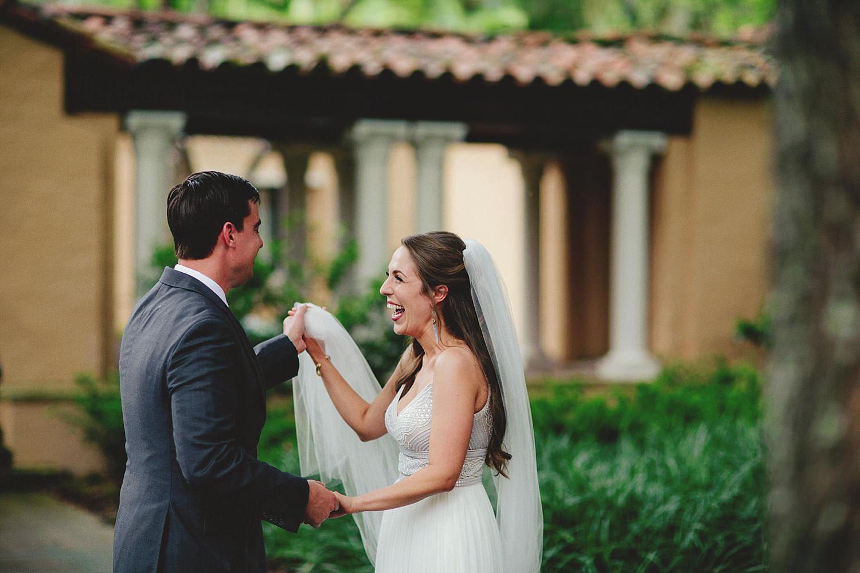 knowles memorial chapel wedding: bride and grooms reaction to se