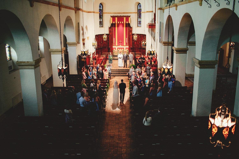 knowles memorial chapel wedding: bride walking down aisle