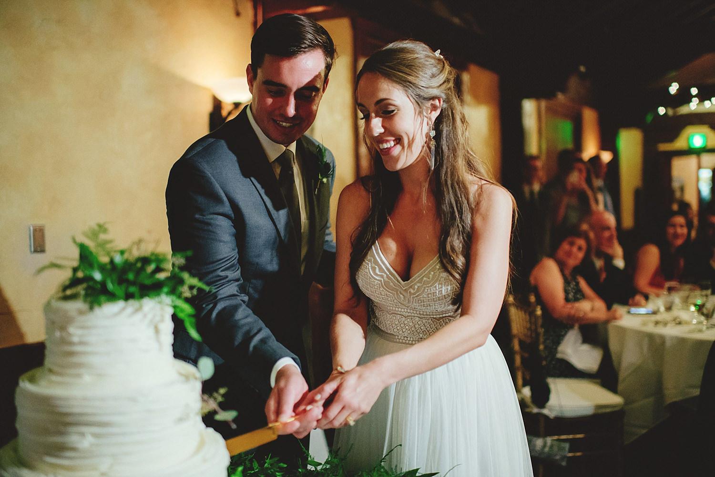 dubsbread wedding reception:  cake cutting