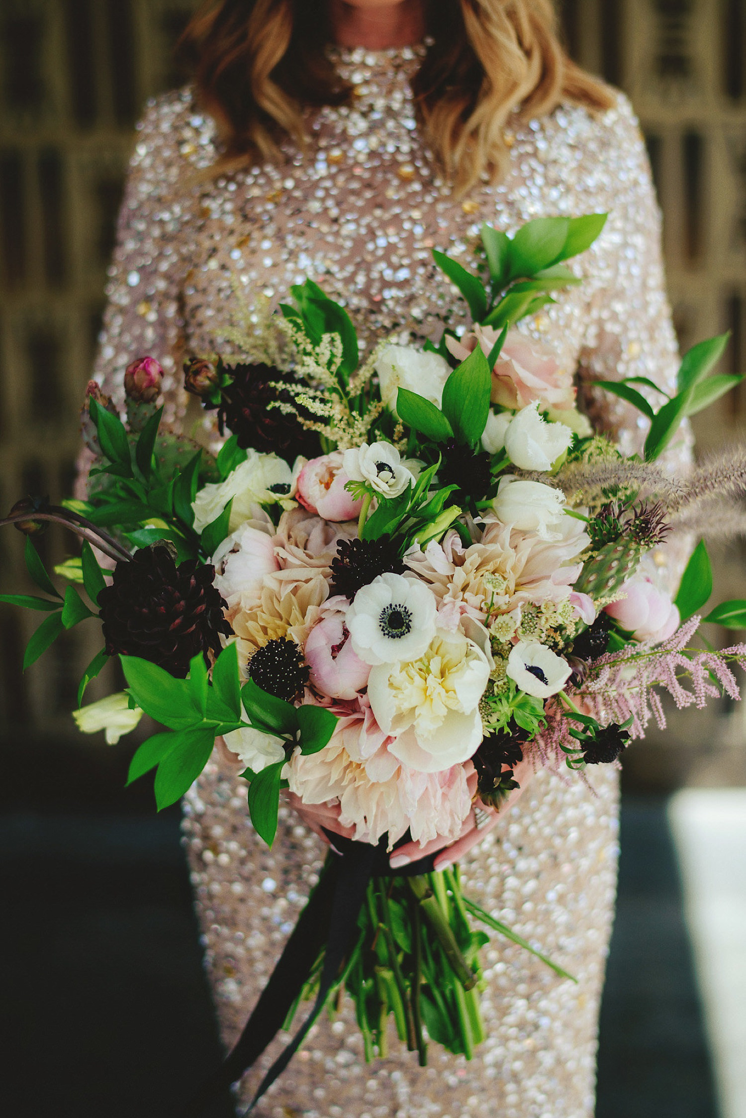rad las vegas wedding bride's bouquet with cacti