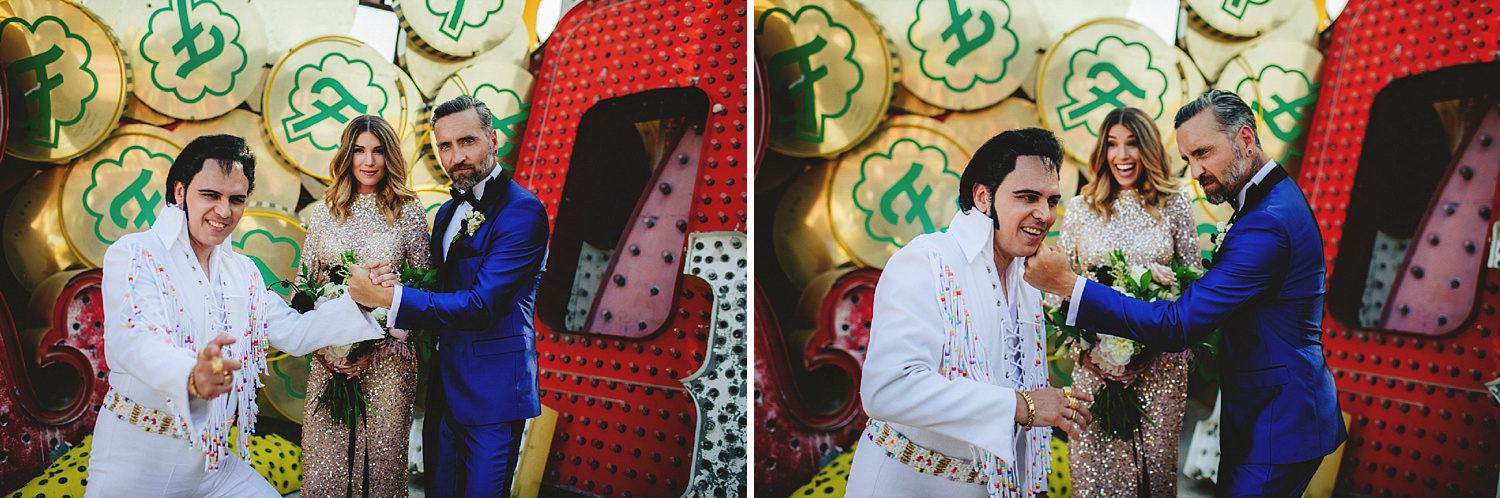 neon museum wedding - portraits with elvis