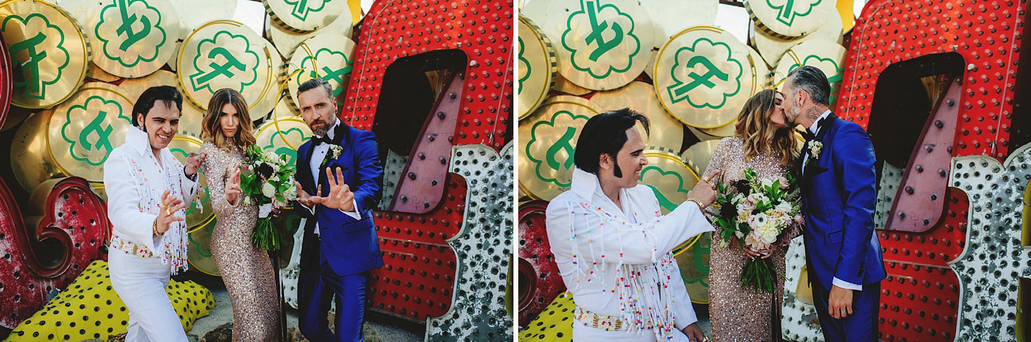 neon museum wedding - photos with elvis