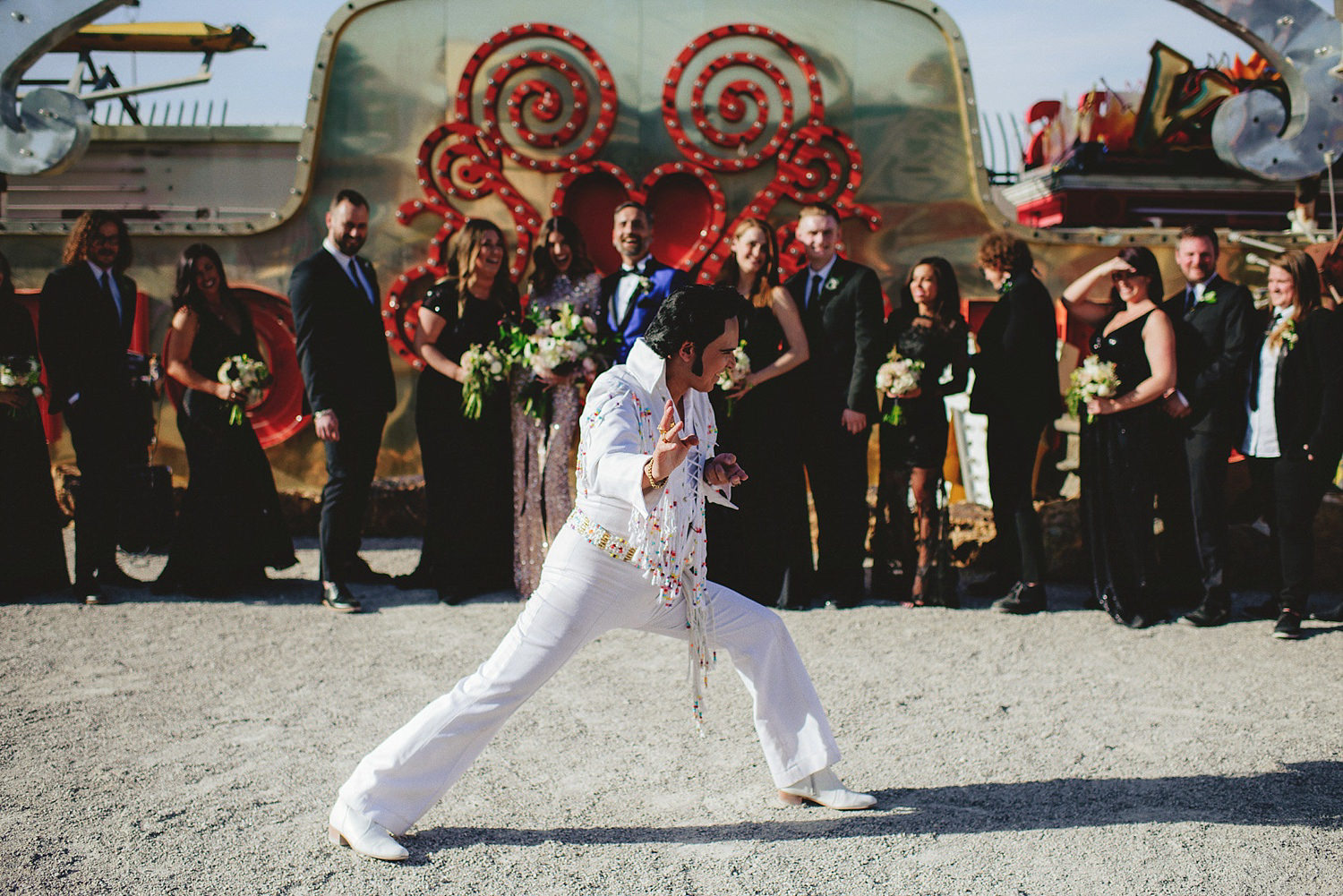 neon museum wedding - elvis doign his thing