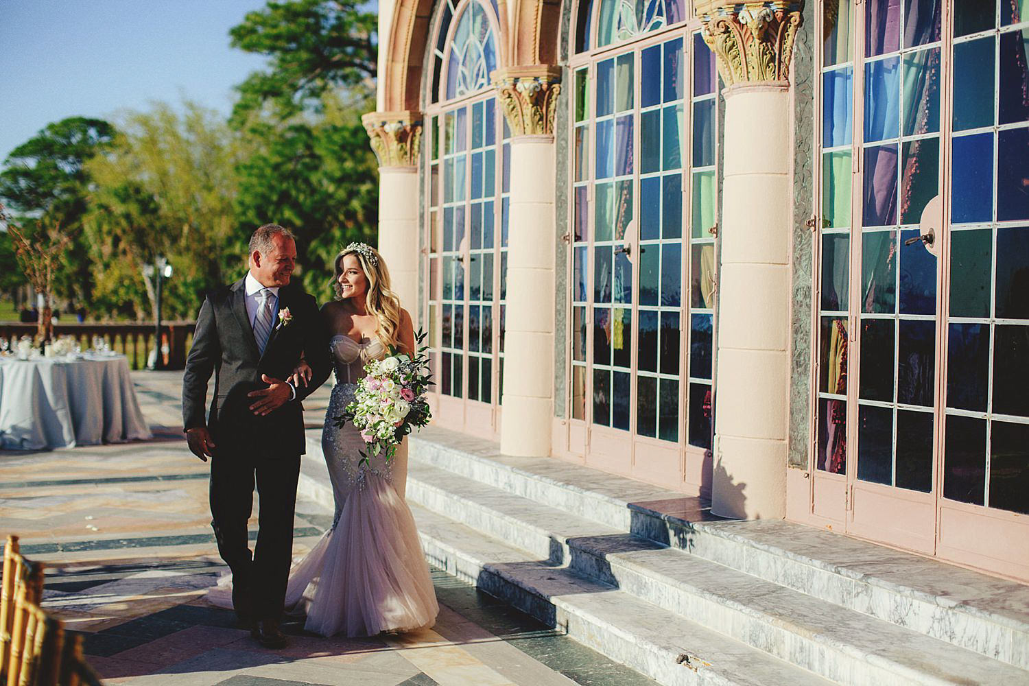editorial ringling wedding: father walking bride down aisle