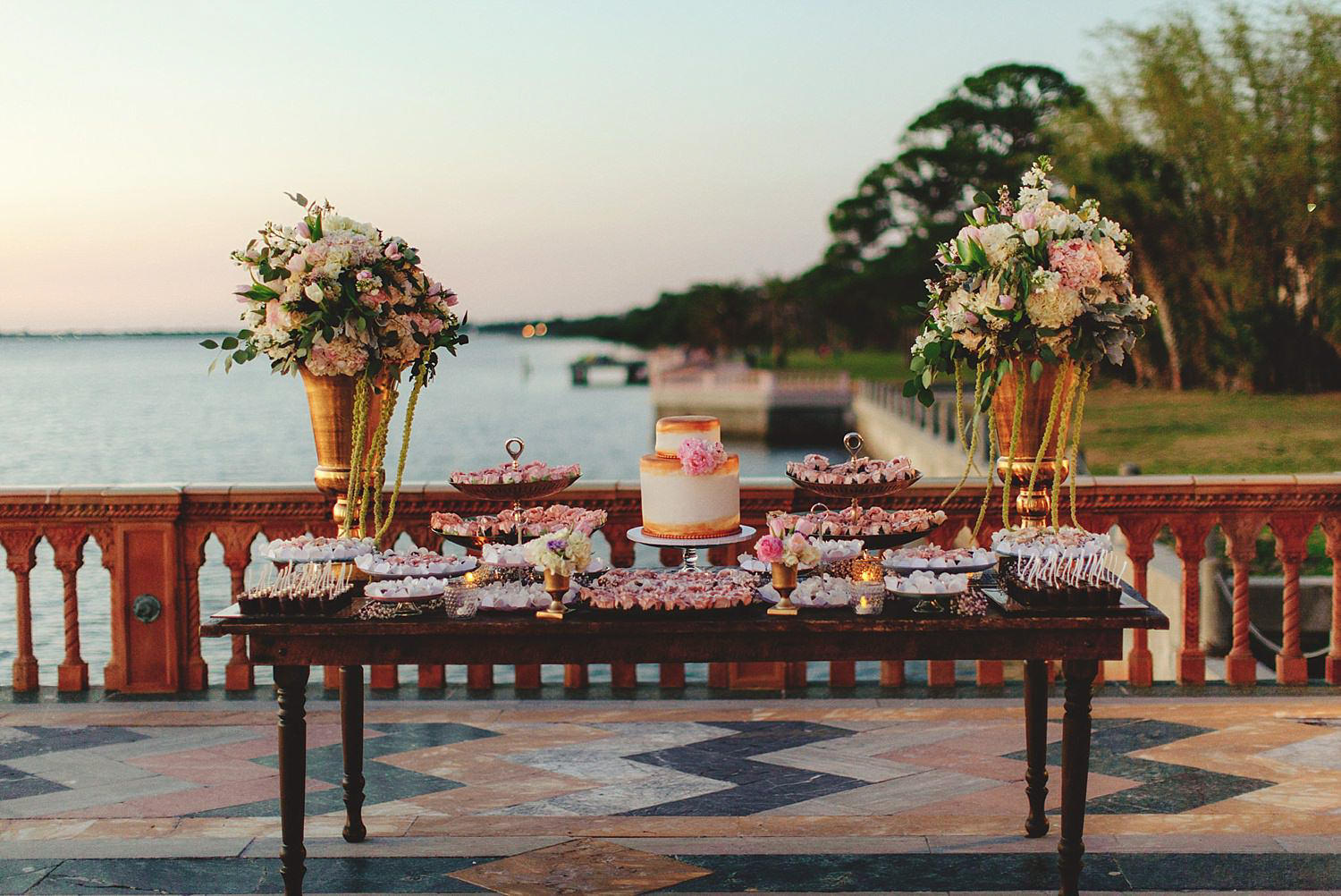 editorial ringling wedding: cake table with desserts