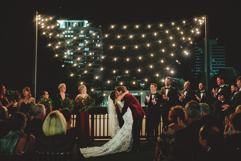 station house wedding kiss