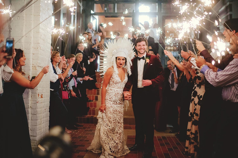station house wedding sparkler exit