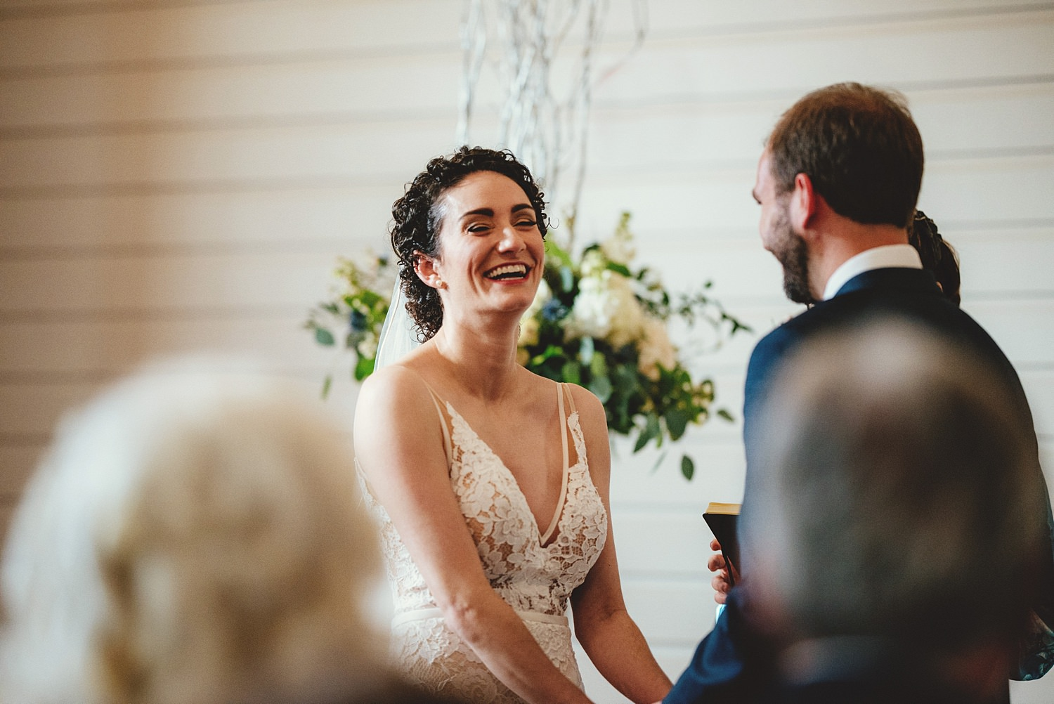 armature works wedding bride laughing