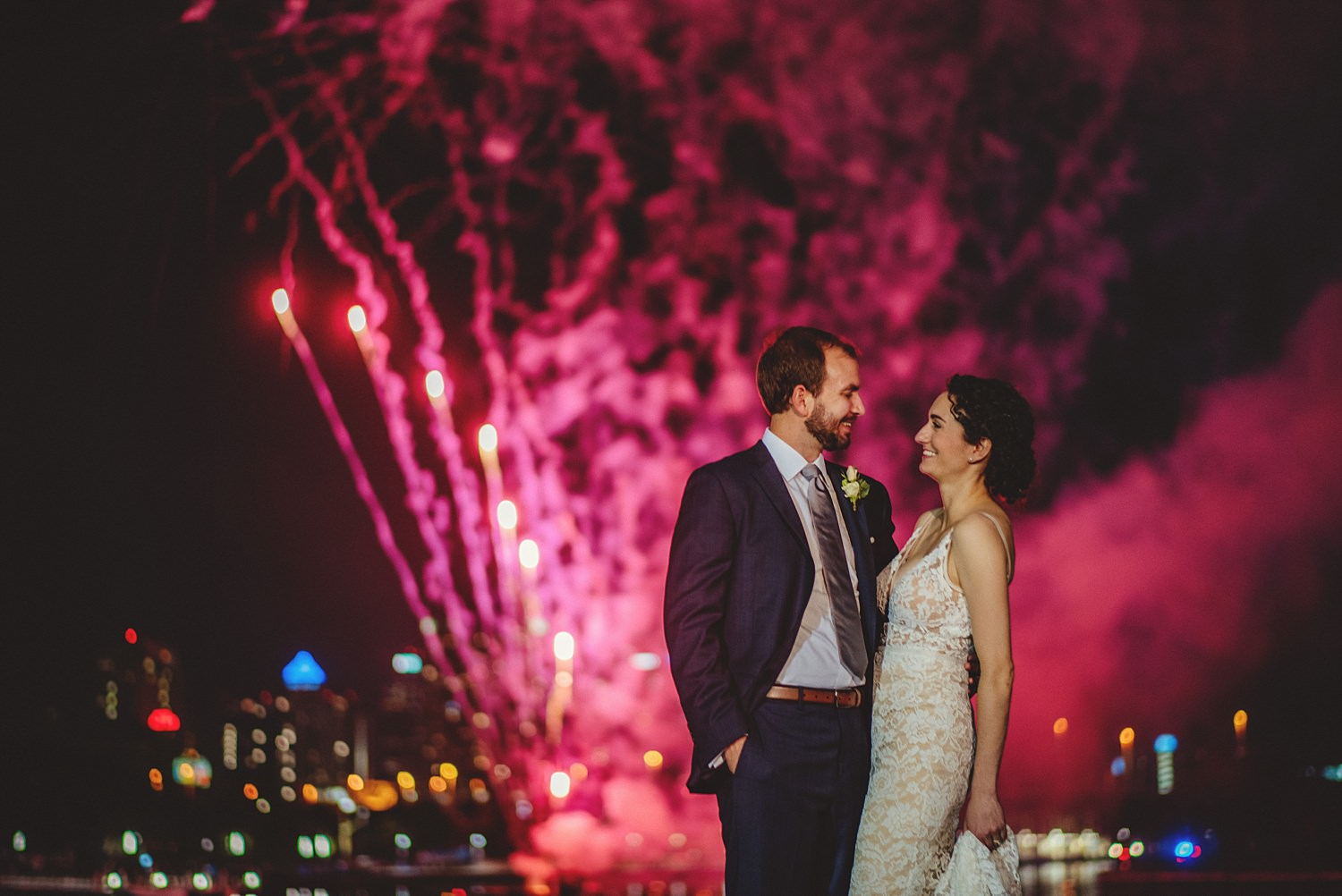 intimate armature works wedding photos fireworks