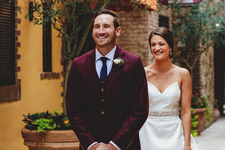 intimate bella collina wedding: first look