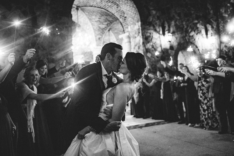 bella collina wedding: sparkler exit