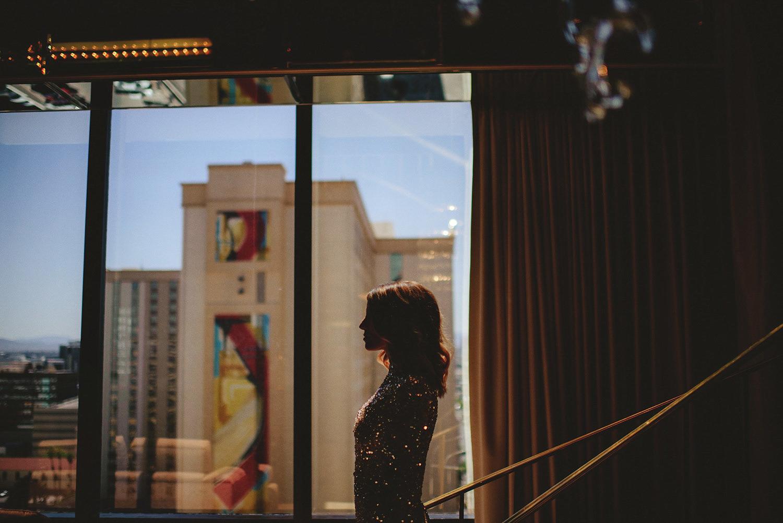 bride sparkling in the window