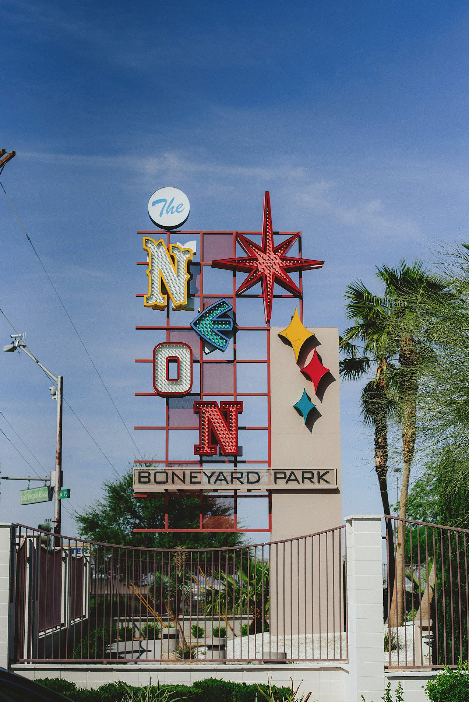 the neon boneyard park sign