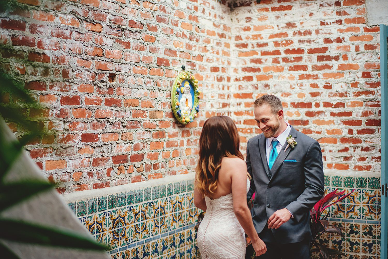 intimate casa feliz wedding: grooms reaction