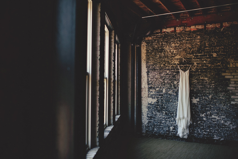 wedding dress hanging at oxford exchange