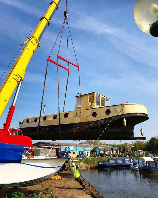 So this happened on Monday. The most stressful day of my life. . . . #boat #dutchbarge #crane #water #marina #river