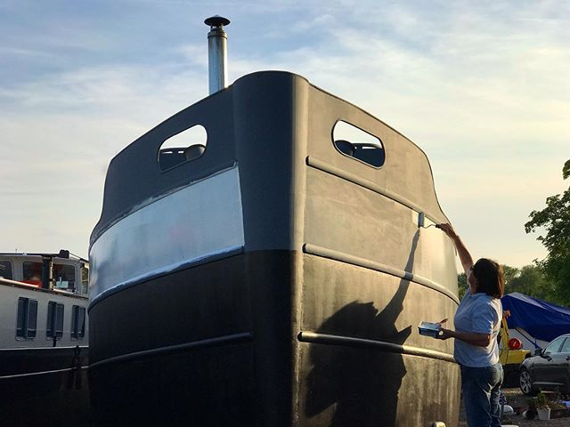 @beverleyharrell applying the first coat. . . . #dutchbarge #barge #paint #project #boat #renovation #blamebev