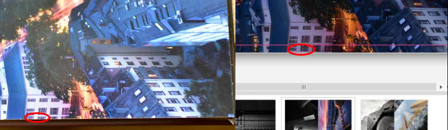 Im Fotobuch (links) sind im linken unteren Gebäuden drei Fensterreihen zu sehen. Gemäß der Software (rechts) befinden sich nur zwei Fensterreihen im Bild, das dritte Fenster hätte außerhalb des Bildausschnittes liegen müssen.