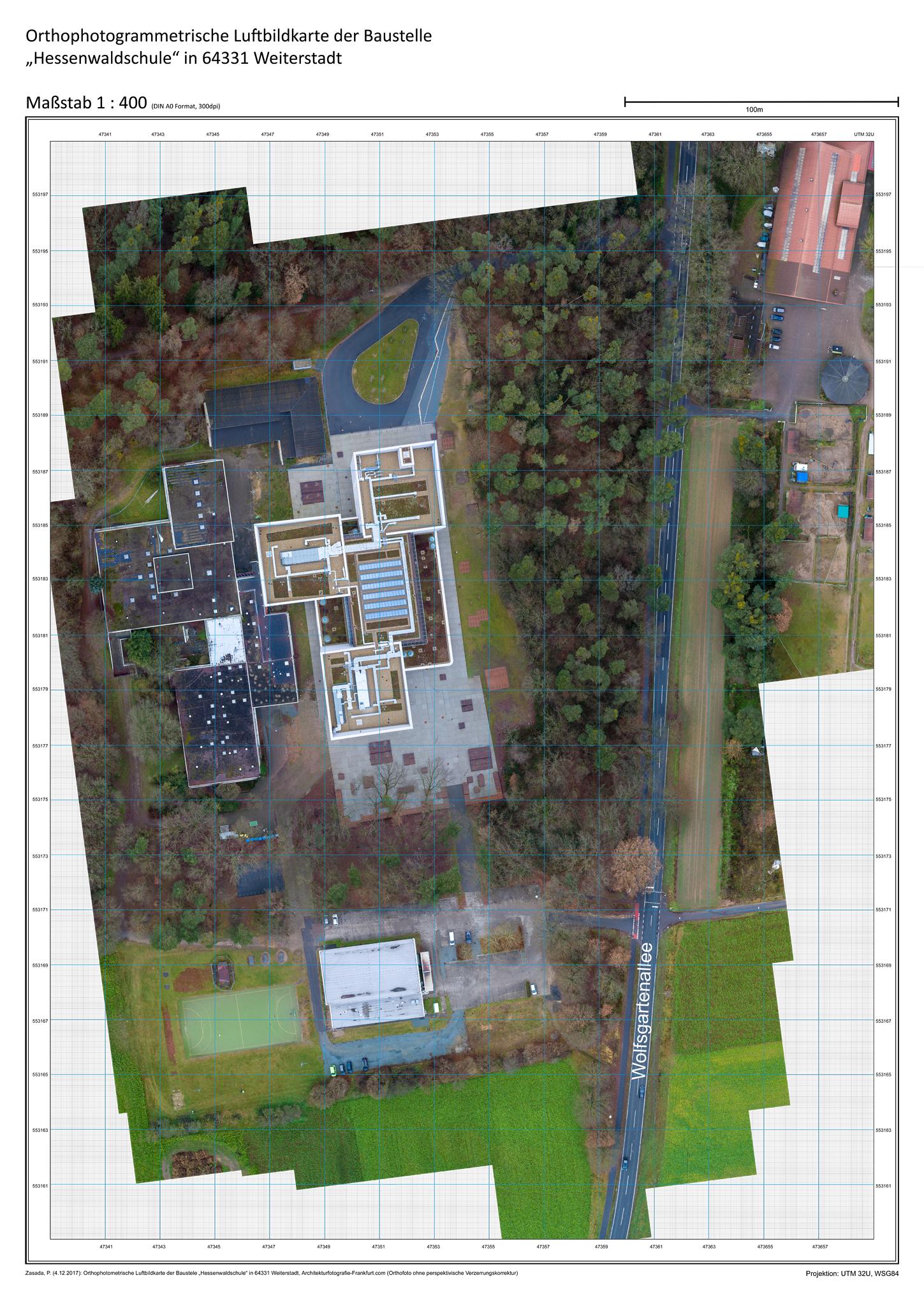 Beispiel für eine DOP Luftbildkarte   :  Georeferenzierte Orthofotos eignen sich für die Visualisierung von Bauvorhaben und Gewerbeansiedlungen, wasserbauliche Maßnahmen und Stadtplanungen, oder für detaillierte Beweissicherungszwecke und die Baudokumentation.