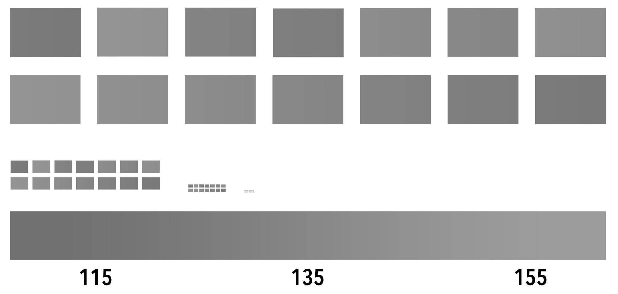Testbild zur Wahrnehmung von Tonwertunterschieden. In diesem Bild befinden sich graue Kästchen mit unterschiedlicher Helligkeit. Die jeweils obere und untere Reihe, weisen die gleichen Werte auf, jedoch ist die obere Reihe zufällig angeordnet, die untere immer absteigend. Die untere Skala zeigt die dazugehörigen RGB-Helligkeitswerte an. Bei Objektiven mit gutem Mikrokontrast ließen sich selbst die kleinsten Kästchen in der Nahansicht zweifelsfrei zuordnen, in der Praxis kann jedoch kein handelsüblicher Drucker so genau drucken. Bei Objektiven mit sehr schlechtem Mikrokontrast, wäre es hingegen selbst bei den großen Kästchen schwierig die genauen RGB-Werte zuzuordnen.