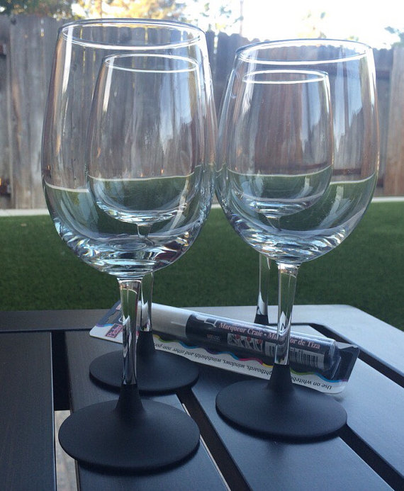 Wine Glasses with Chalkboard Bases