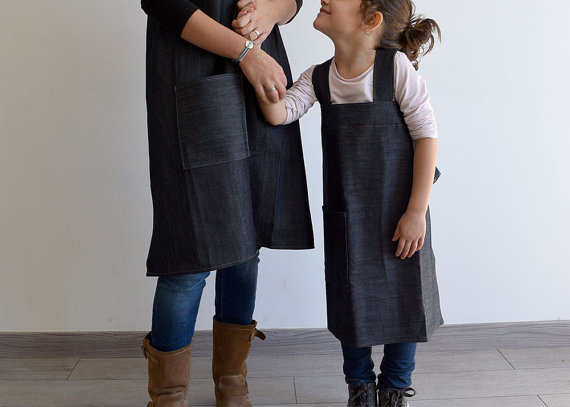 Mommy & Me matching denim Japanese Cross Back Aprons