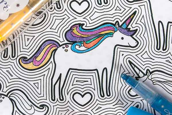 Glitzy Glitter Markers on Unicorn Adventures Color-In Book