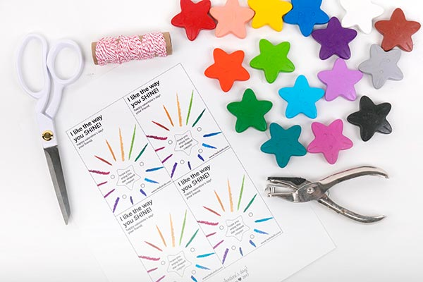 What you will need to make these: the print, crayons, scissors, hole punch & string