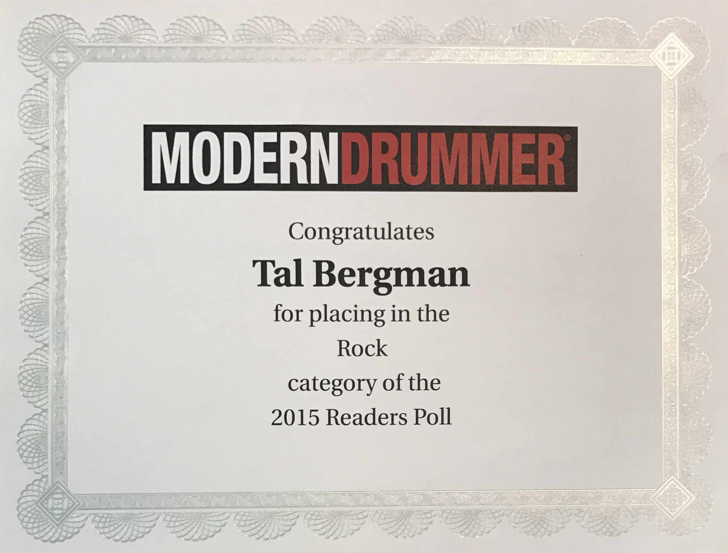 modern drummer Readers poll ROCK 2015