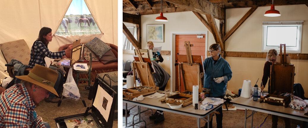 Afternoons are spent indoors in a community tent at the Chico Basin camp (left) and in the Education barn at Zapata Ranch (right) where students work out formal exercises in composition and color.