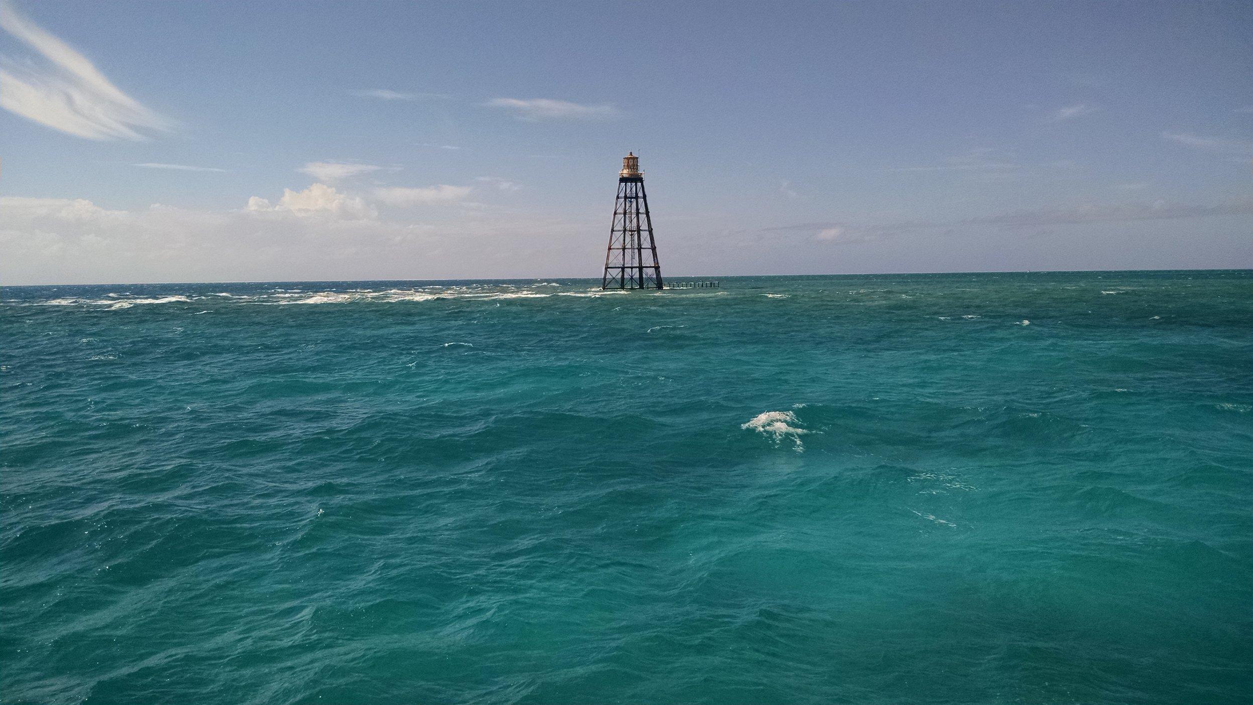 Sand Key Lighthouse on a windy day