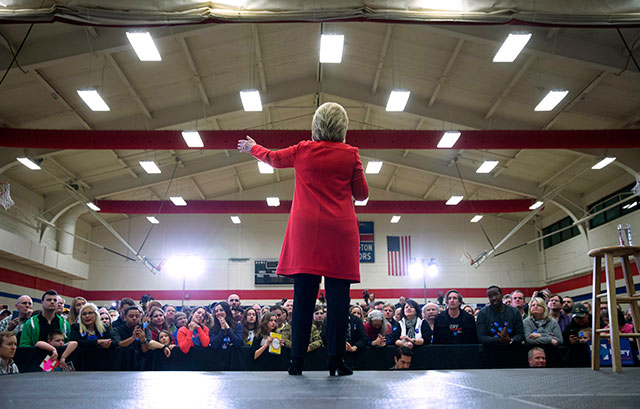 Hillary Clinton speaks during a primary campaign appearance at Washington High School in Cedar Rapids, Iowa, January 30, 2016. Without paper ballots, counted in public and recounted or audited when necessary, there are no means to verify the will of the voters. (Photo: Doug Mills / The New York Times)