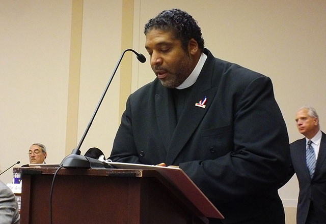 Rev. William Barber, president of the North Carolina NAACP, speaking on voter suppression. (Photo: National Election Defense Coalition)