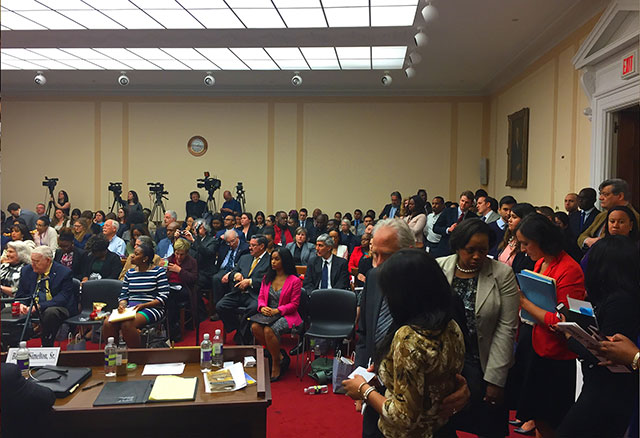 Packed congressional hearing on voter suppression, April 21, 2016. (Photo: National Election Defense Coalition)