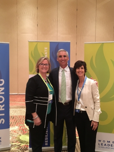 From Now On CEO Sue Thaden, NCAA Executive Vice President of Regulatory Affairs Oliver Luck, and Women Leaders in College Sports CEO Patti Phillips