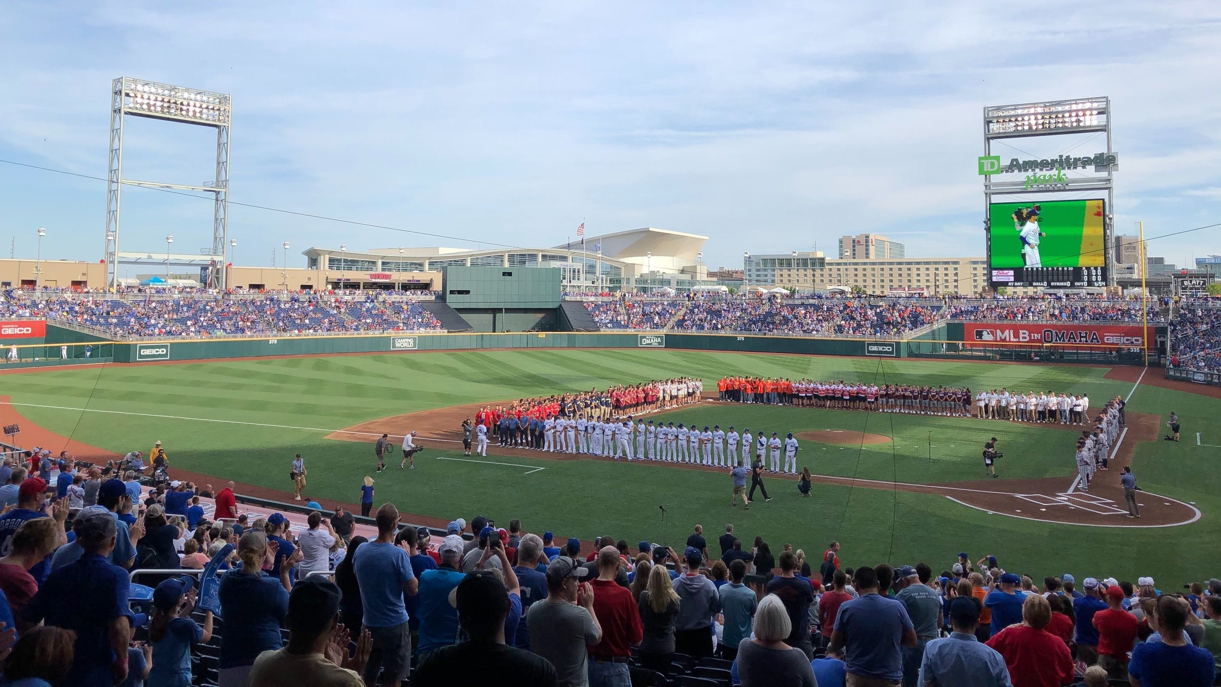 CWS teams gather with Major Leaguers from the Kansas City Royals and Detroit Tigers on June 13, 2019 as part of the opening festivities around the 2019 College World Series.