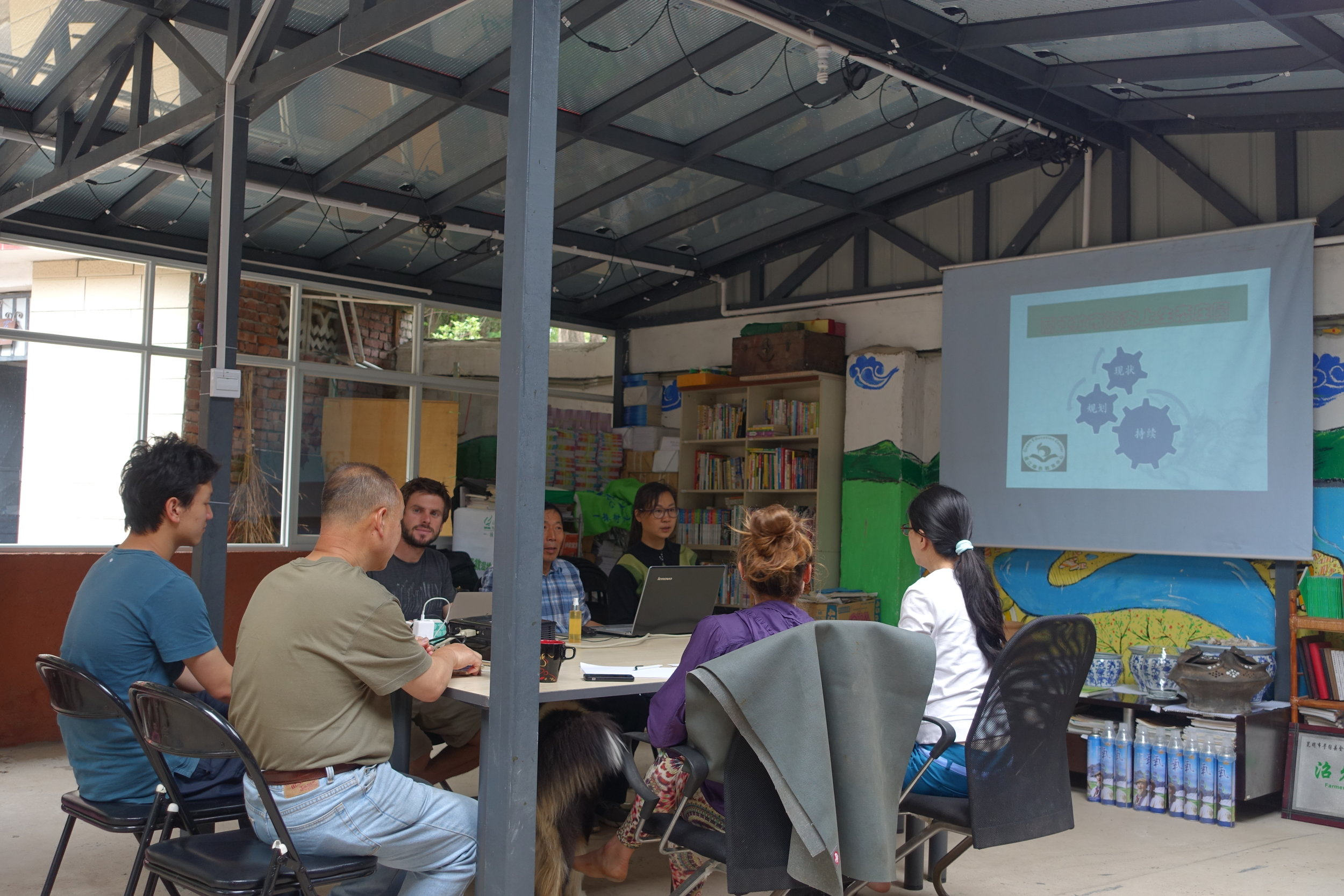 """The GEC's newly constructed """"solar house"""" hosts weekly staff meetings, where progress on current projects is discussed."""